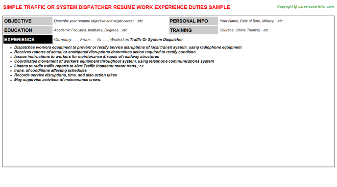 Traffic Or System Dispatcher Job Resume Sample