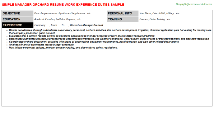 Manager Orchard Job Resume Template