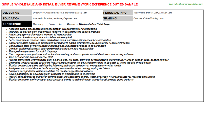 Wholesale And Retail Buyer Job Resume Sample