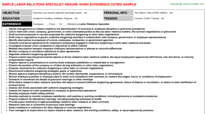 Labor Relations Specialist CV Resume Example