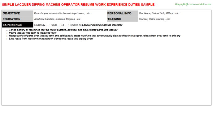 lacquer dipping machine operator resume template