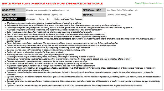 power plant operator job resume sample