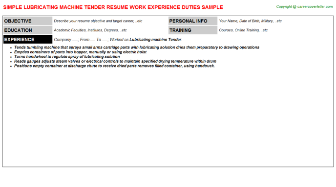 lubricating machine tender resume template