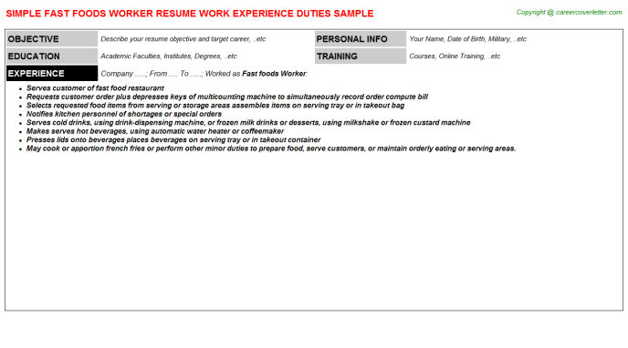 fast foods worker resume template