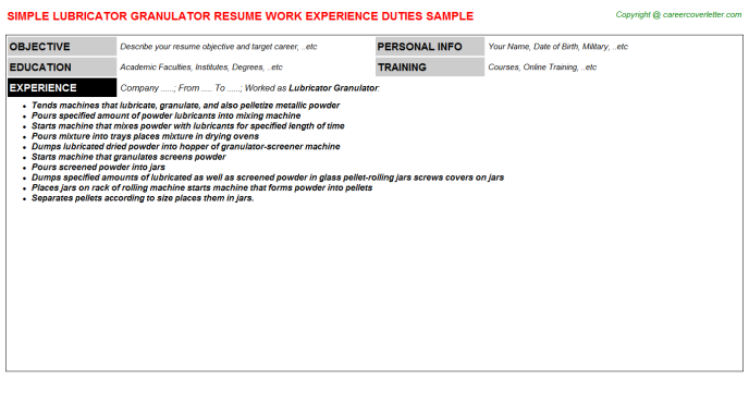 lubricator granulator resume template