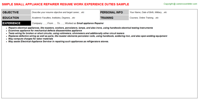 Small Appliance Repairer Resume Template
