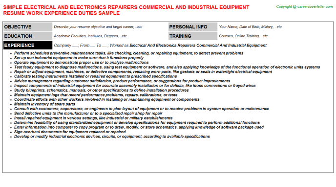 Electrical And Electronics Repairers Commercial And Industrial Equipment Resume Template