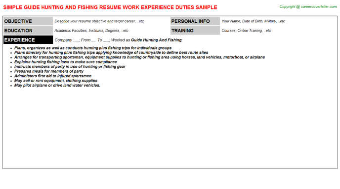 guide hunting and fishing resume template