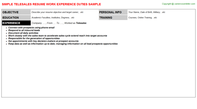 Telesales Resume Sample Template
