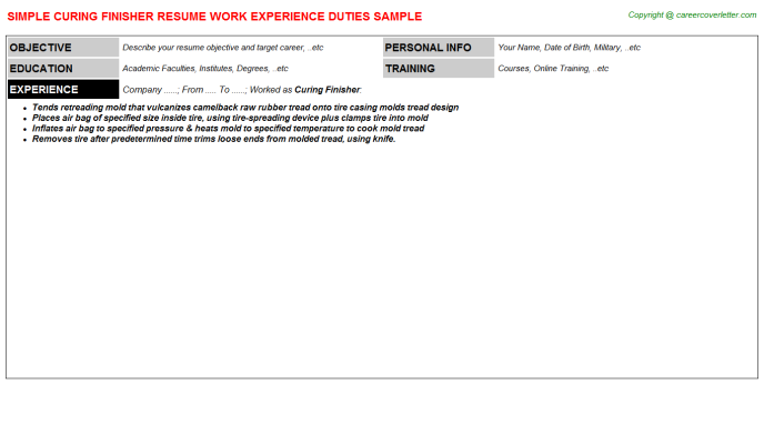Curing Finisher Resume Sample Template