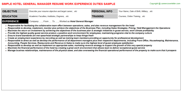 Hotel General Manager Resume Sample Template