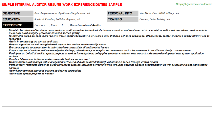 Internal Auditor Resume Sample Template