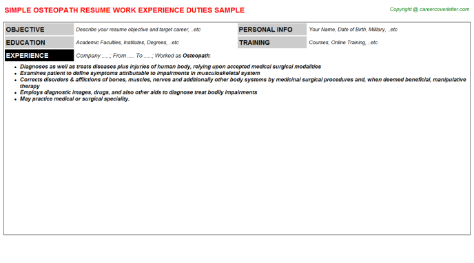 Osteopath Resume Sample Template