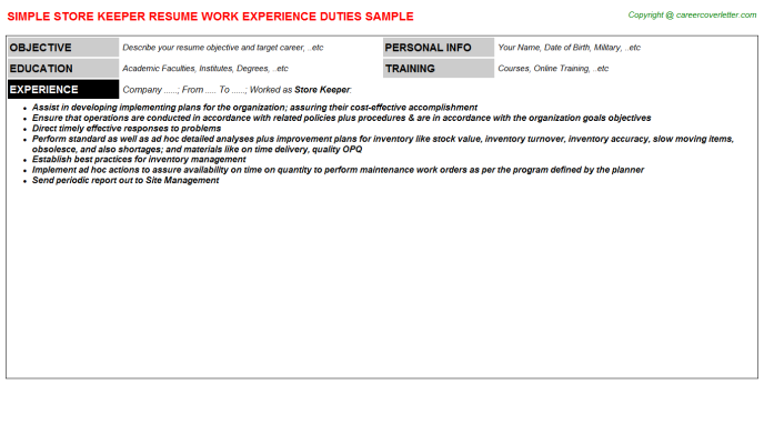 Store Keeper Resume Sample on resume help, resume for cna with experience, resume style, resume mistakes, resume references, resume outline, resume builder, resume design, resume form, resume skills, resume types, resume examples, resume templates, resume objectives, resume for high school student no experience, resume font, resume categories, resume layout, resume structure, resume cover,