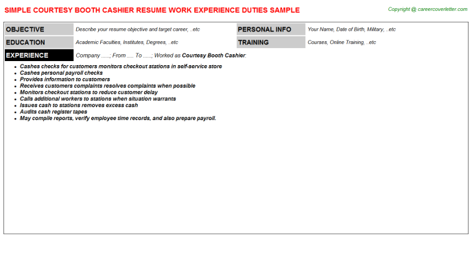 Courtesy Booth Cashier Resume Template