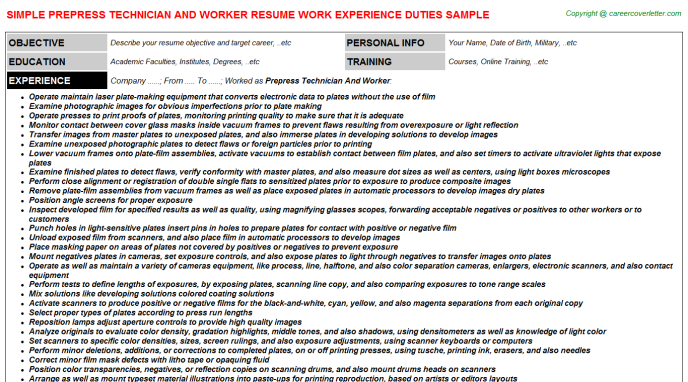 Prepress Technician And Worker - Free Docs Templates Downloads