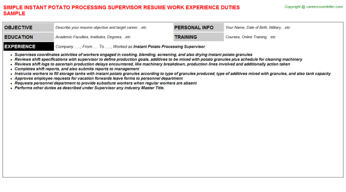 instant potato processing supervisor resume template