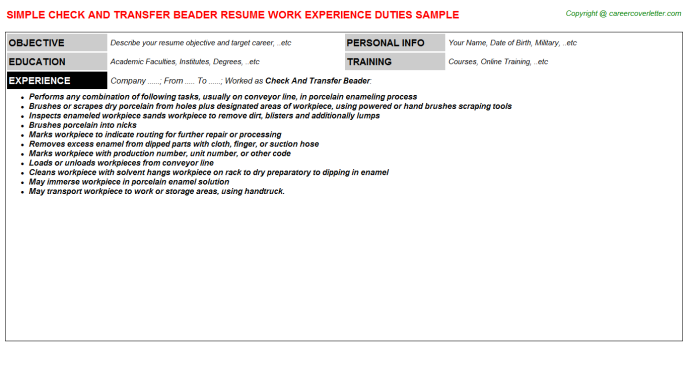 check and transfer beader resume template