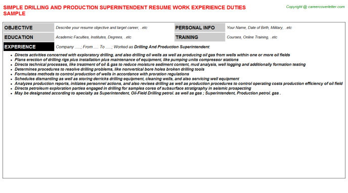 Drilling And Production Superintendent Resume Template