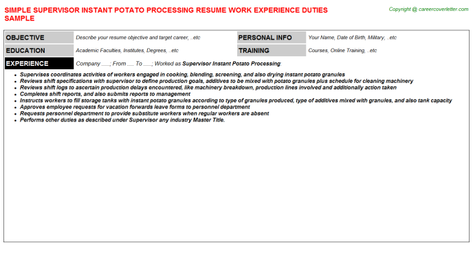 supervisor instant potato processing resume template