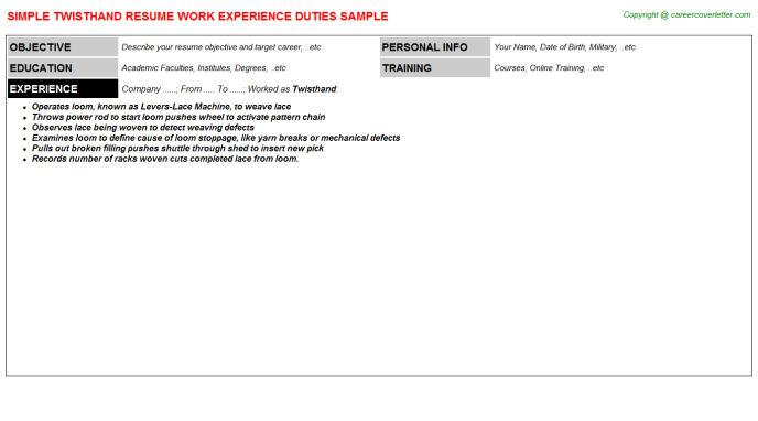 Twisthand Resume Sample Template