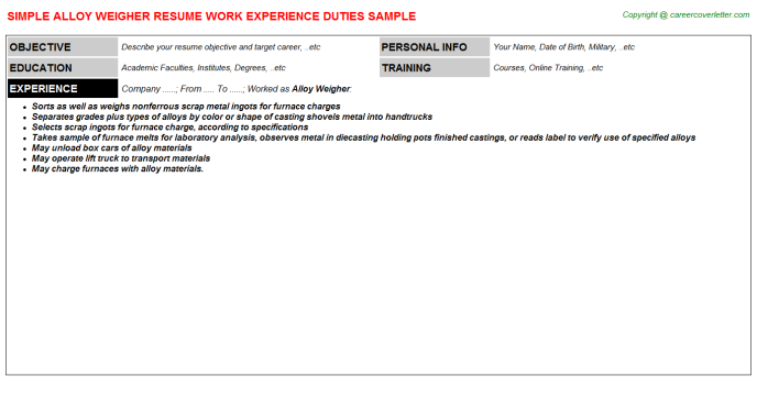 alloy weigher resume template
