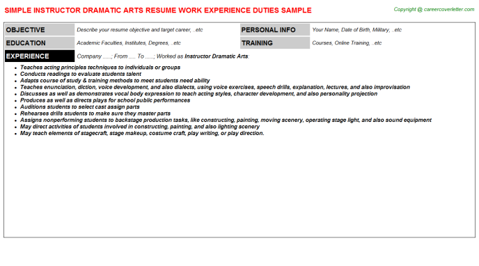 Instructor Dramatic Arts Resume Template