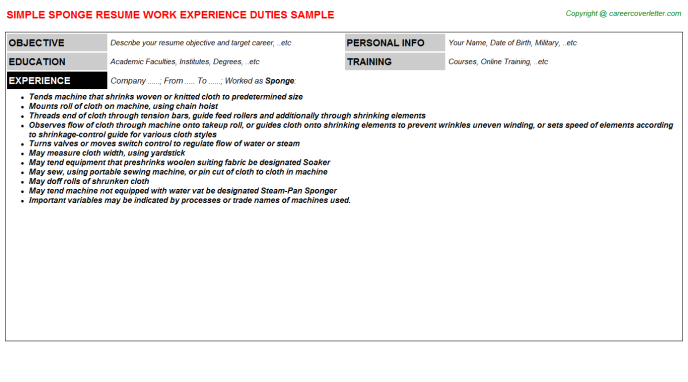 Sponge Resume Sample Template