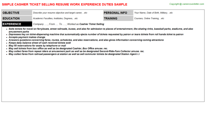 Cashier Ticket Selling Resume Template