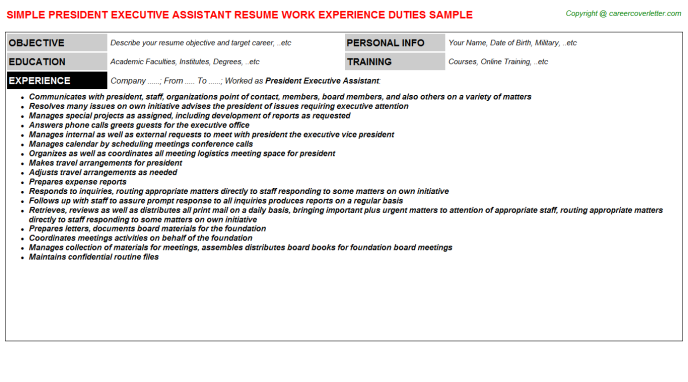 president executive assistant resume template