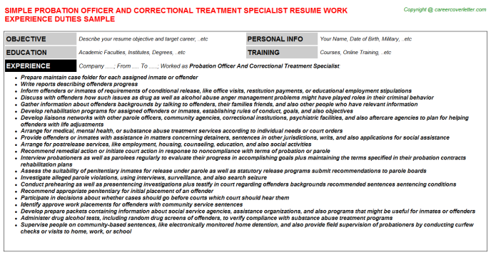 Probation Officer And Correctional Treatment Specialist Job Resume Template
