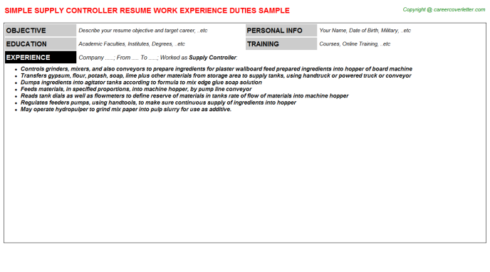 Supply Controller Resume Template