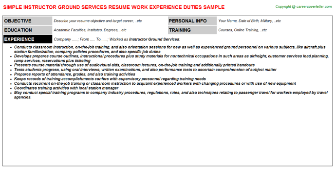 Instructor Ground Services Resume Template