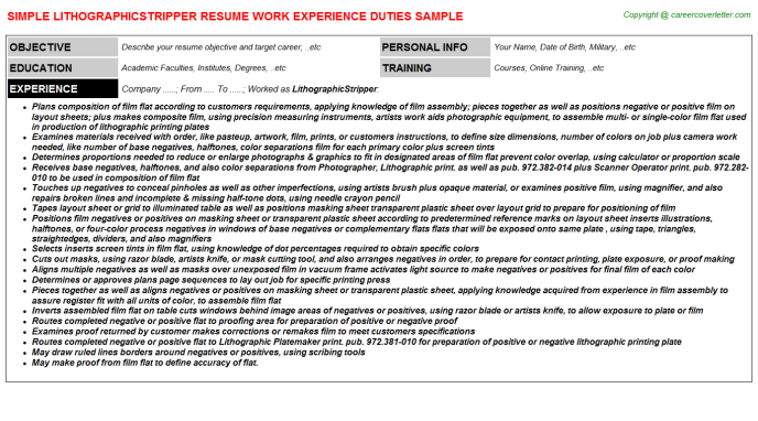 Lithographicstripper Job Resume Template