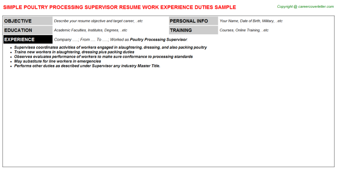 Poultry Processing Supervisor Resume Template