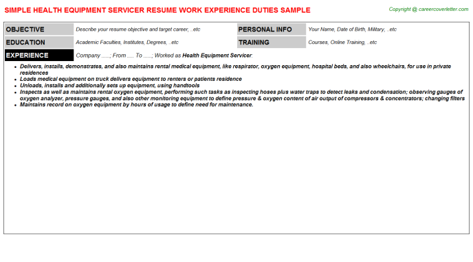 health equipment servicer resume template