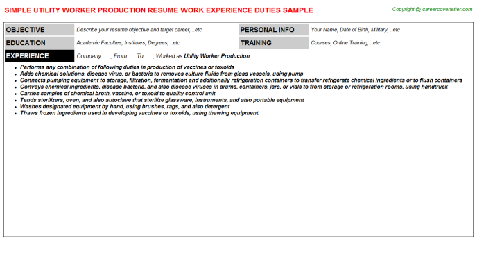 utility worker production resume template