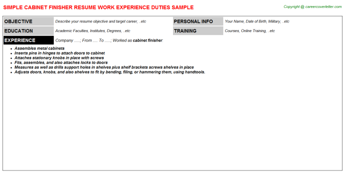 Cabinet Finisher Resume Template