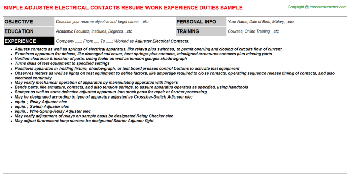 Adjuster Electrical Contacts Resume Template
