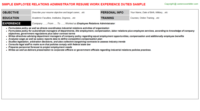 employee relations administrator resume template