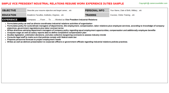 vice president industrial relations resume template