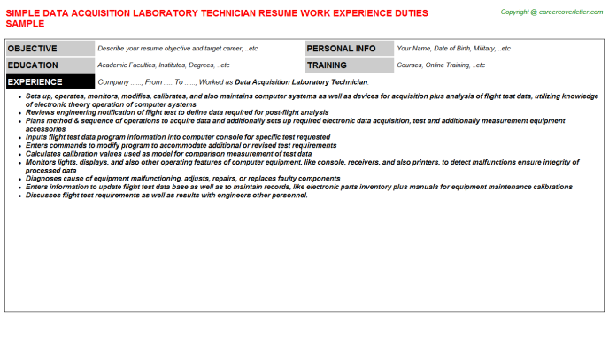 Data Acquisition Laboratory Technician Job Resume Template