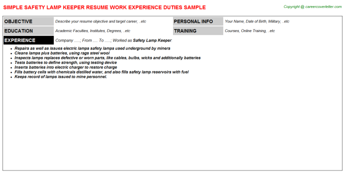 Safety Lamp Keeper Job Resume Template