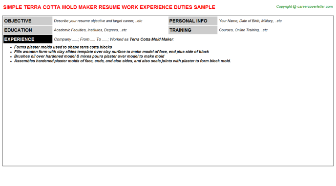 sample terra cotta mold maker resume template