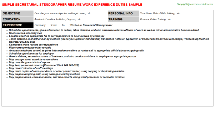 secretarial stenographer resume sample