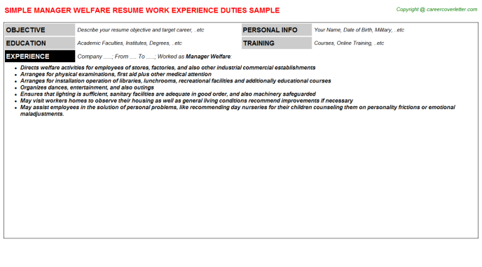 Manager Welfare Resume Template