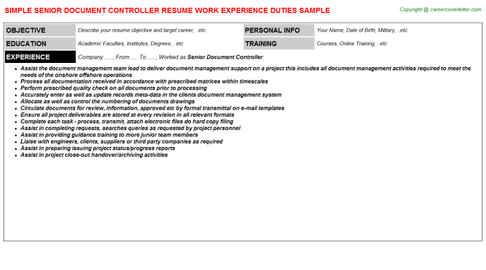 Senior Document Controller Job Resume Template