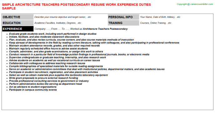 architecture teachers postsecondary resume template