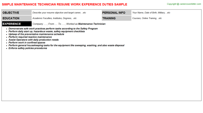Maintenance Technician Resume Sample Template