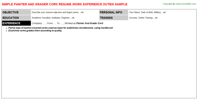 painter and grader cork resume template